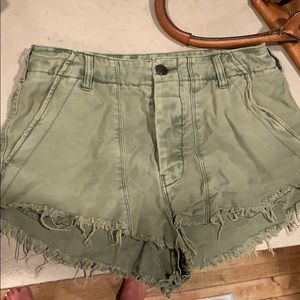 Army green free people shorts